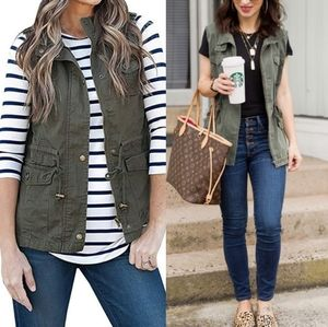 Maurices Army Green Hooded Utility Vest